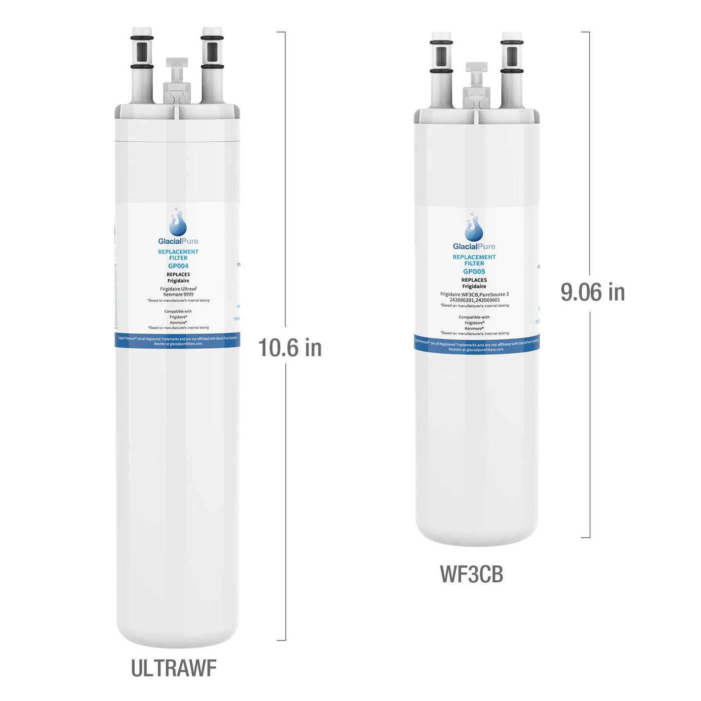 ULTRAWF Water Filter, Kenmore 9999, FGHB2844LF, For Refrigerator Water Filters Replacement, 11.7*2.4*3.9 inches (4-Pack)