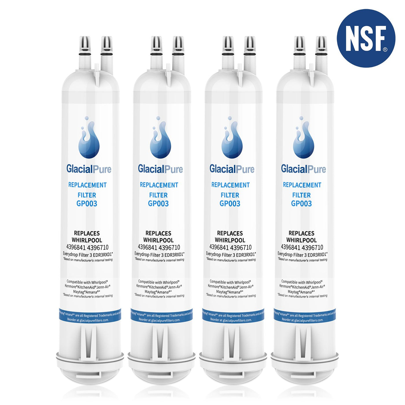 GlacialPure Refrigerator Water Filter for Whirlpool Filter 3 EDR3RXD1 4396710 4 Packs