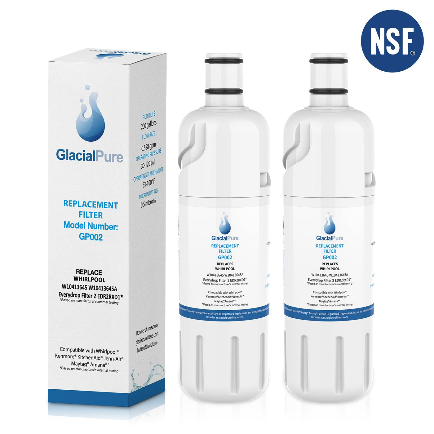 GlacialPure Refrigerator Water Filter for Whirlpool Filter 2 EDR2RXD1 9082 W10413645A 2 Packs