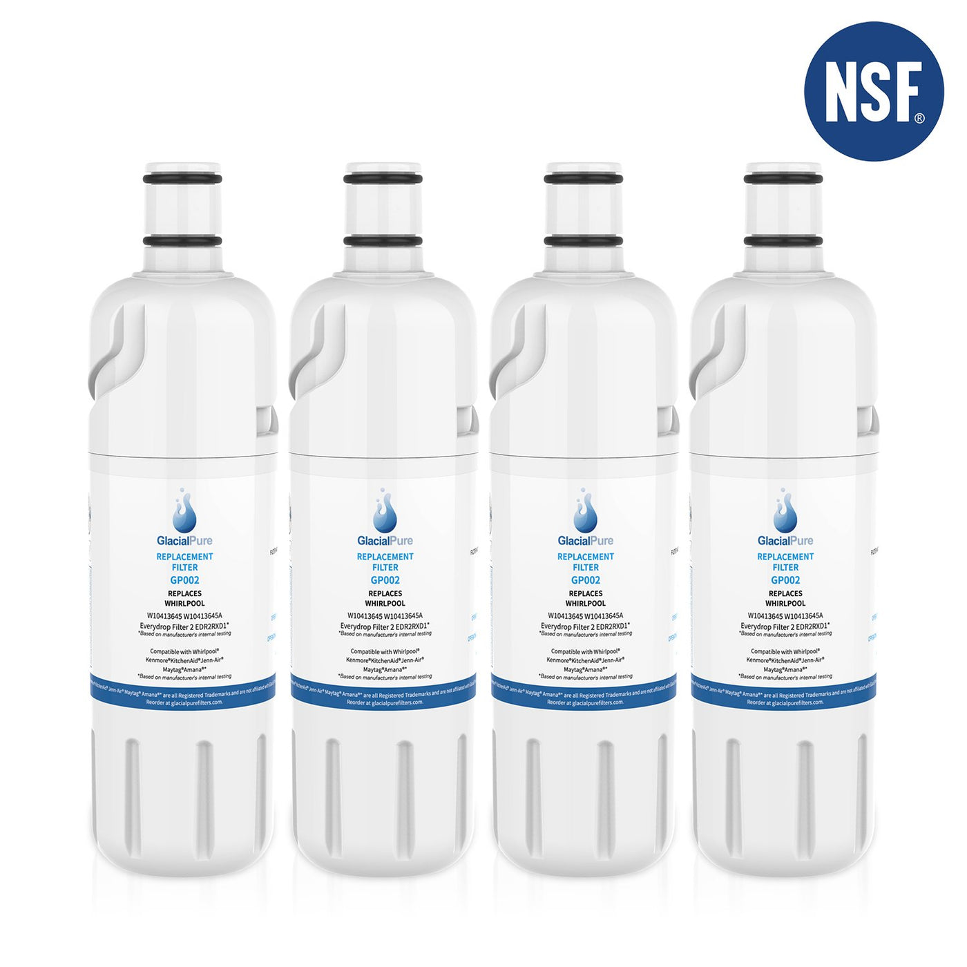 GlacialPure Refrigerator Water Filter for Whirlpool Filter 2 EDR2RXD1 9082 W10413645A 4 Packs