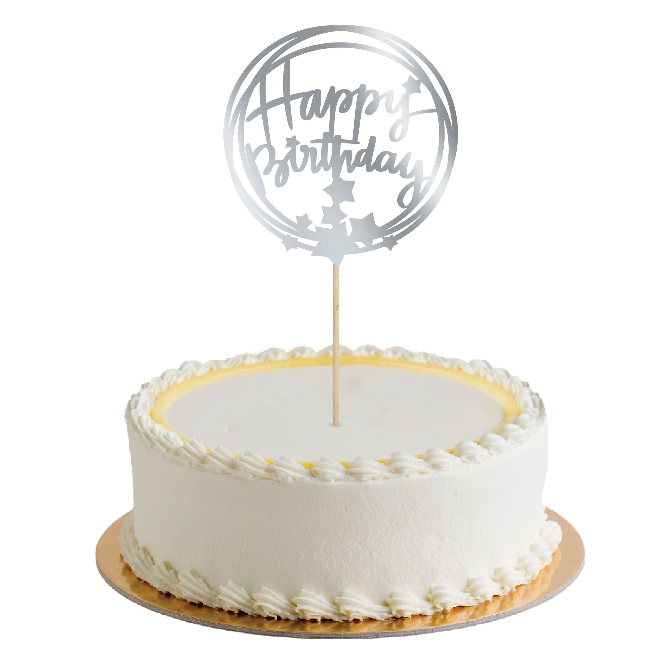 CAKE TOPPER HAPPY BIRTHDAY STARS PLATA