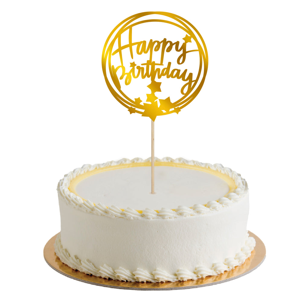 CAKE TOPPER HAPPY BIRTHDAY STARS ORO