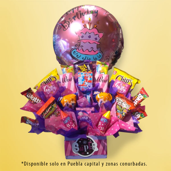 DECORACIÓN CON DULCES H-BIRTHDAY PINK GIRL
