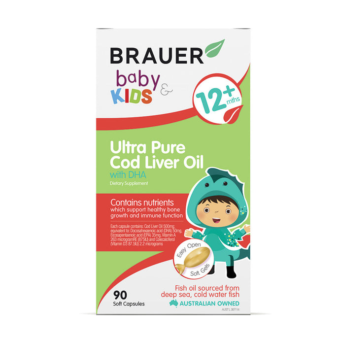 Brauer Baby & Kids Ultra Pure Cod Liver Oil with DHA (12+ months) 90c