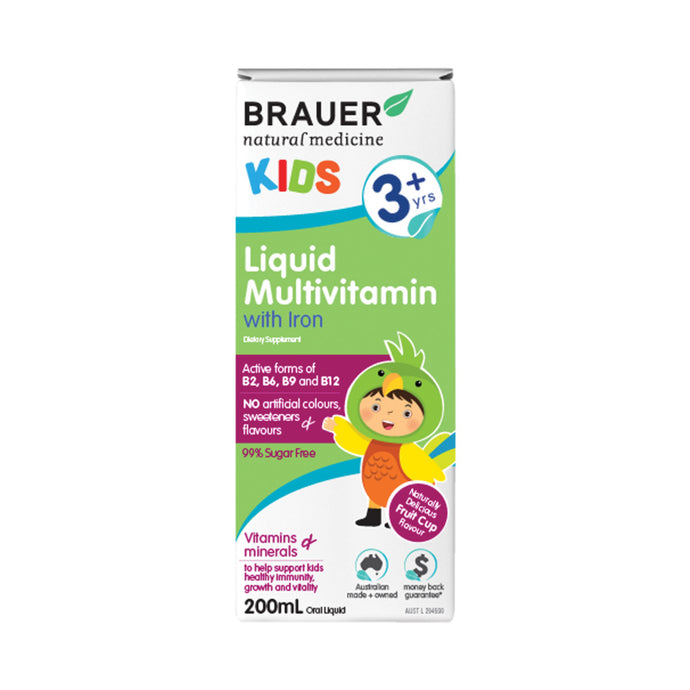 Brauer Kids Liquid Multivitamin with Iron (3+ years) 200ml