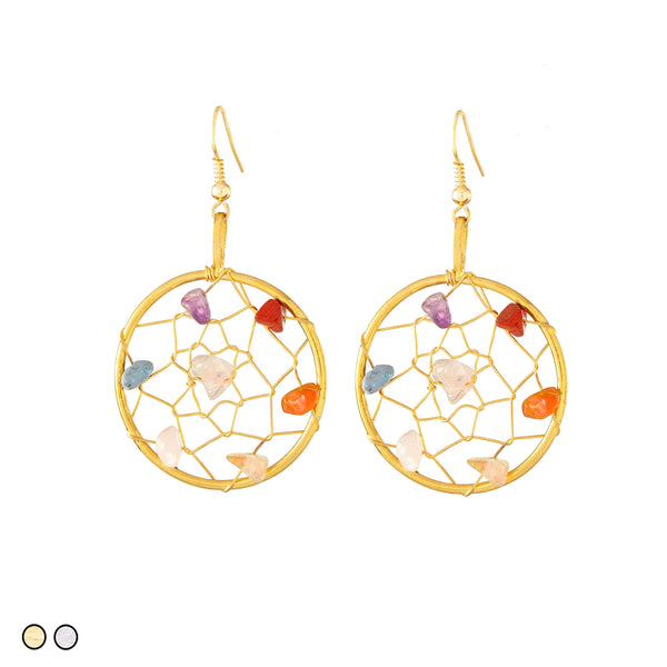 Crystal Dream Catcher Earrings (Gold and Silver)