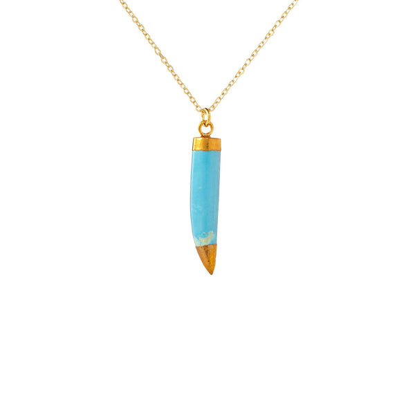 Gold Capped Blue Stone Tooth Necklace