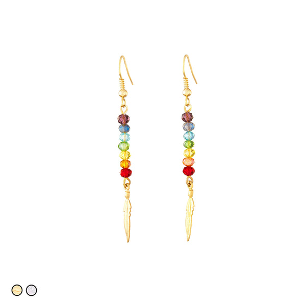 Chakras Crystals with Feather Earring (Gold and Silver)