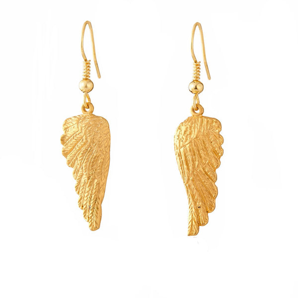 Gold Angel Wings Dangle Earrings