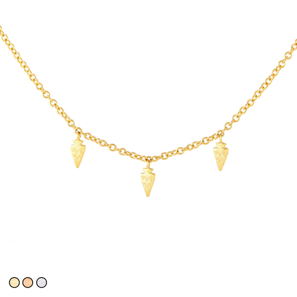 Small Gold Arrowhead Necklace (Gold, Rose Gold, Silver)