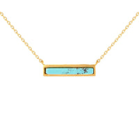 Gold and Turquoise Bar Triangle Necklace