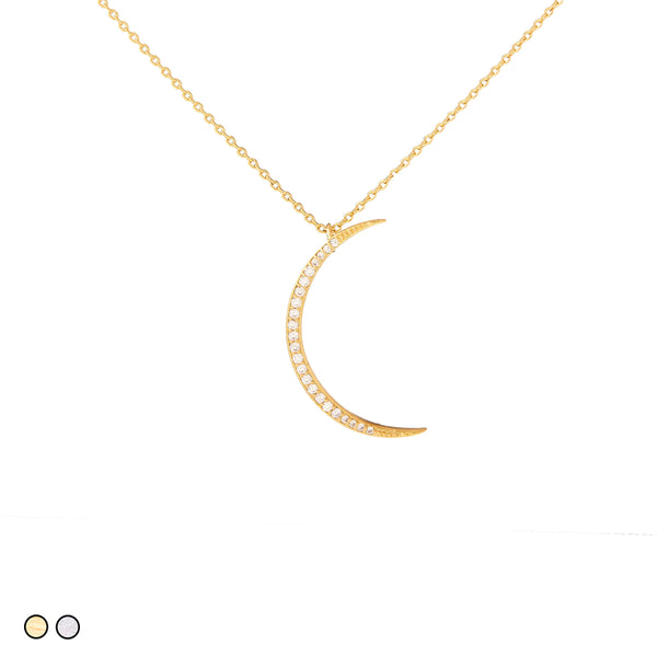 Pave Crescent Moon (Silver, Gold)