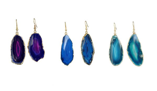 Gilded Edge Brazilian Agate Earrings