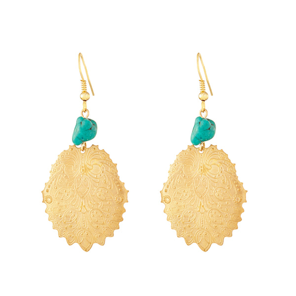 Stamped Gold and Turquoise Dangle Earrings