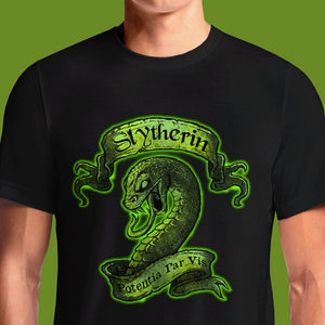 Buy Harry Potter Slytherin crest t-shirt to your wardrobe! This stylish, 100% cotton black t-shirt features the official Slytherin house crest on the front.