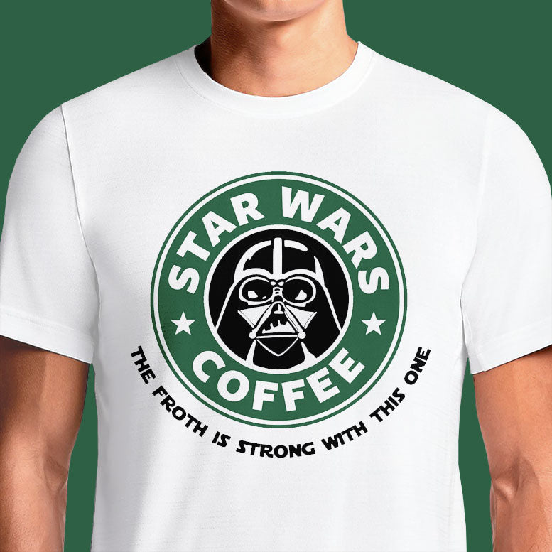 Buy Star Wars Coffee Starbucks Darth Vader Funny with Text T Shirt. Star Wars Parody Starbucks Coffee T Shirt Darth Vader Storm Trooper Funny Fest White Tee.
