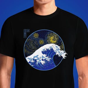 The Great Wave Off Kanagawa - The Starry Night T-Shirt for Sale. Writer says Dutch painter was influenced by Japanese print he is known to have admired. How Hokusai's Great Wave crashed into Van Gogh's Starry Night. (the starry night)(the great wave)(katsushika hokusai)(paintings)(vincent van gogh)(mashup) - ..... 'Famous Wave' Graphic T-Shirt. Van Gogh Starry Night and Hokusai Great Wave T Shirts India