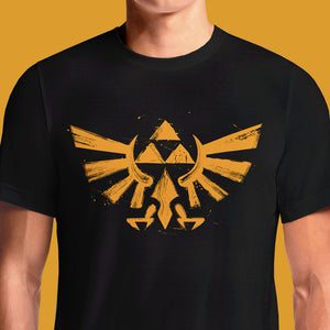 When you're wanting to show your inner nerd, throw on this The Legend of Zelda Triforce T-Shirt. Black, 100% cotton t-shirt features a glowing Triforce design with the silhouettes of Ganondorf, Link, and Zelda, each with their respective Mark of the Goddess, ...