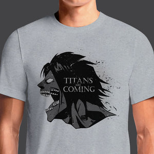 Attack On Titan Eren Jaeger T-Shirt Parody with Game Of Thrones. Buy the newest attack on titan T-Shirts and Bring the manga story to life when you sport awesome merchandise from Attack on Titan This shirt is so awesome it would even pass Levi's inspection for excellence. If you are a futuristic ninja with an unquenchable thirst for naked behemoth villain ...