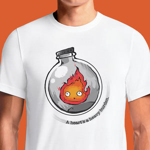 Howl's Moving Castle White Heart T-Shirt – OSOMWEAR Anime Store Shop for the latest studio ghibli t shirt howl's moving castle, pop culture merchandise, gifts & collectibles at OSOM WEAR! Get Calcifer the Howl's resident fire demon as he agrees to heat and power the castle and now your heart