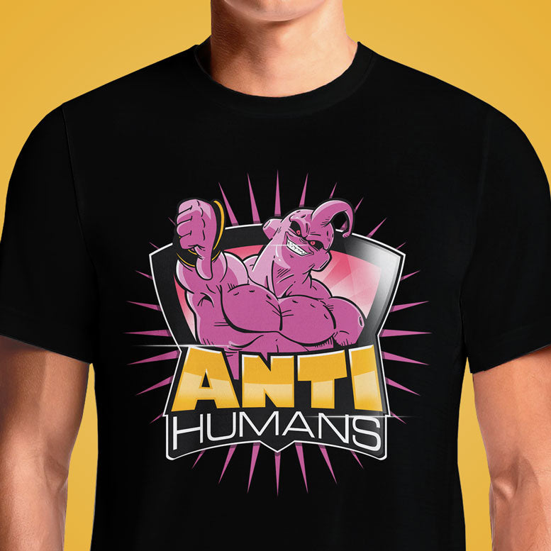 "Majin Buu t-shirt by Getsousa!. Show everyone that you are a fan of Majin Buu with this Supabuu Anti-Humans t-shirt. ""Anti Humans"". Dragon Ball Z Majin Buu T-Shirt. The happy fighting Majin Buu from Dragon Ball Z is here on this shirt in his Good form to put a smile on your face. Thankfully he won't try to absorb you because ...Supabuu Anti-Humans - Dragon Ball - T-Shirt 