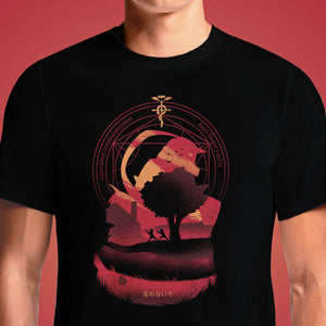 Full Metal Alchemist Brotherhood T-Shirt in India - OSOMWEAR Buy Fullmetal Alchemist Brotherhood: Flamel Cross T-Shirt. Turn heads in the street and bring back painful Fullmetal Alchemist memories with this absolutely savage t-shirt! People won't even be able to look at you without ...