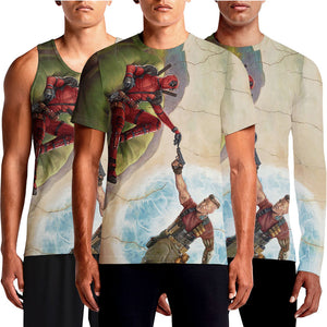 Creation of Deadpool 2 T-Shirts For Sale India Online. The design is a parody of The Creation of Adam – The parody banner depicts Deadpool, reclining in a green beanbag chair rather than on a grassy hill, reaching out to the time-traveling mutant Cable (Josh Brolin), who appears to be emerging from a portal of some...