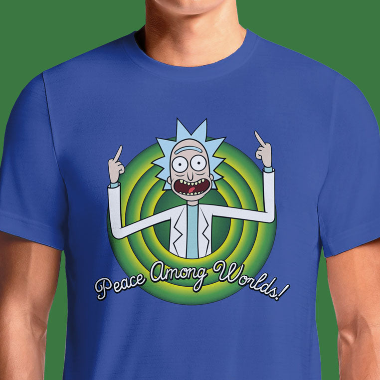"Buy this cool Rick and Morty Peace Among Worlds t-shirt! Enjoy Free Shipping. After Rick and Morty have a conversation about the concept of the microverse, they land to be greeted by the microverse's inhabitants. Rick flips the inhabitants off, then explains to Morty that the gesture's meaning is ""peace amongst worlds"""