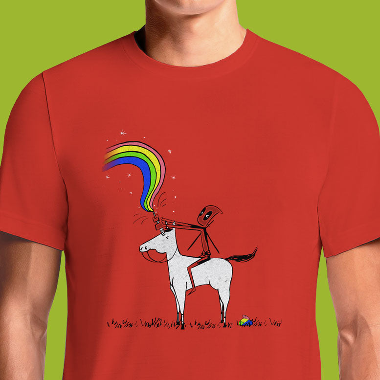 Deadpool has done many things to make him a unique comic book character. The Merc with a Mouth has done it again on this t-shirt riding on a unicorn. This shirt is inspired by the end credits of the Deadpool movie, which saw an animated version of Deadpool riding a unicorn. Nothing says epic like Deadpool on a unicorn!
