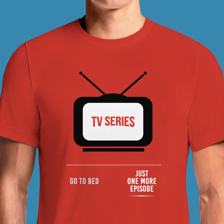 "Netflix-And-Chill - One More Episode - Red Printed T Shirt at work at 8am. I'm going to watch one more episode. ""Just One More Episode"" in the style of the Netflix font. ... NETFLIX PARODY ONE MORE EPISODE T-SHIRT ..."
