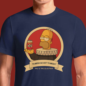 Homer Simpson Shakespeare To Beer Navy T-Shirt