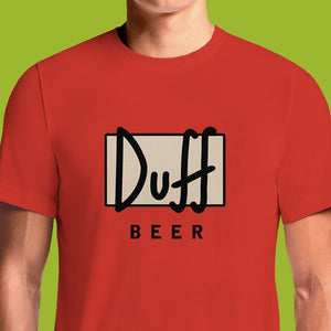 Duff Beer is Homer Simpson's beer of choice in The Simpsons cartoon. These red Duff Beer Simpsons t-shirts feature the beer's Duff logo design on the front. Purchase this bestselling piece of Simpsons merchandise and make Duffman (Duff beer's mascot) proud. Wear the Duff Beer tee under your Pin Pals Simpsons ...