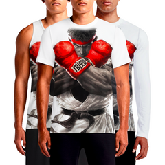 Ryu Street Fighter T-Shirt Jiu-Jitsu Style White Long Sleeve and Sleeveless For Men.