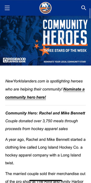 "NHL Feature: ""Islander's Community Heroes of the Week: Rachel and Mike Bennett"""