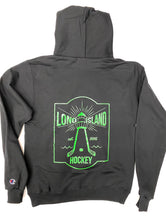 Load image into Gallery viewer, Lighthouse x Champion Hoodie: Black + Neon Green