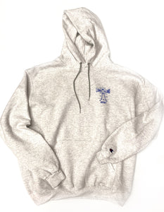Lighthouse x Champion Hoodie: Grey + Royal