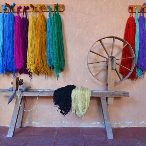 Dyed wool yarn in a weaving workshop, Mexico