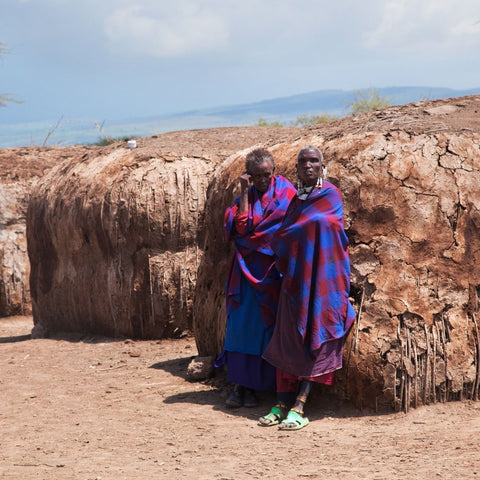 Maasai women in red and purple cloth