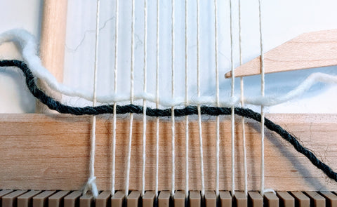 Wool weaving project vertical stripes
