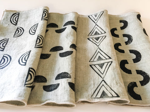 DIY Block Printed Linen Napkins | Handcarved Block Printing Craft Kit for Adults and Beginners, Materials and Tutorial