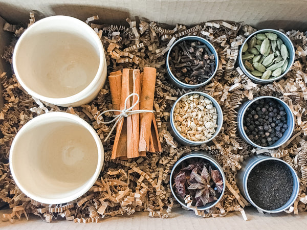 Chai Kit, Organic Tea and Spices, DIY Instructions and Stoneware Kulladh Gift Set