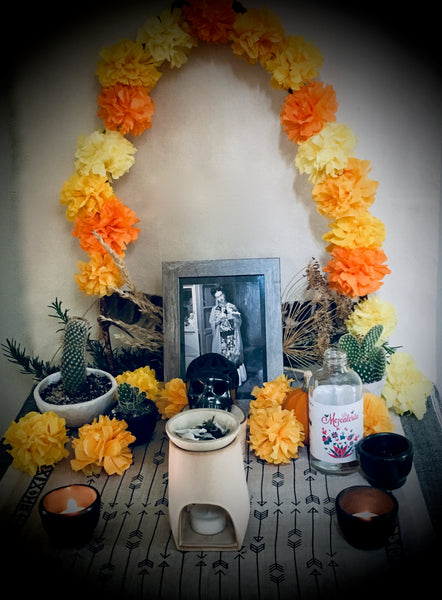Day of the Dead, Dia de Los Muertos Craft Kit, Marigold Garland, Barro Negro Mezcal Cups, Copal Incense Blend, Ofrenda, Cempasúchil