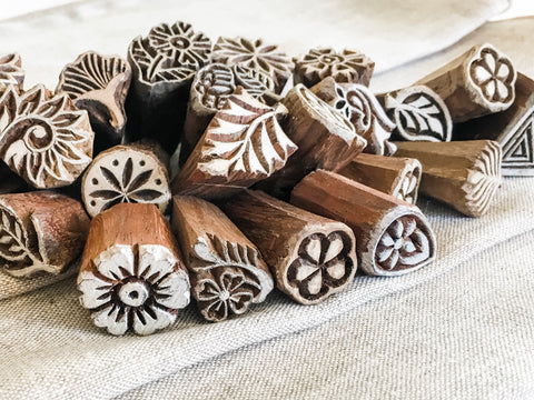 Handcarved wooden stamps, block printing fabric, block stamping textiles, Indian fabric stamping, Henna designs