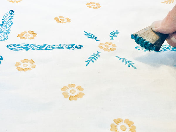 Indian Stamped Bandana | Craft Kit for Beginners, Block Printing Textiles, Materials and Tutorial