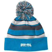 Load image into Gallery viewer, Rock Fantasy Camp Striped Beanie with Pom
