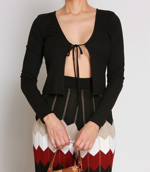 Lexi Ribbed Tie Front Cardigan Top