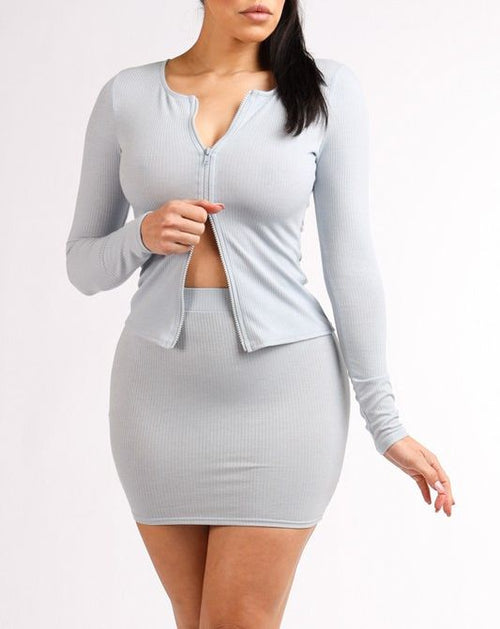 Love Me Ribbed Matching Set- Gray