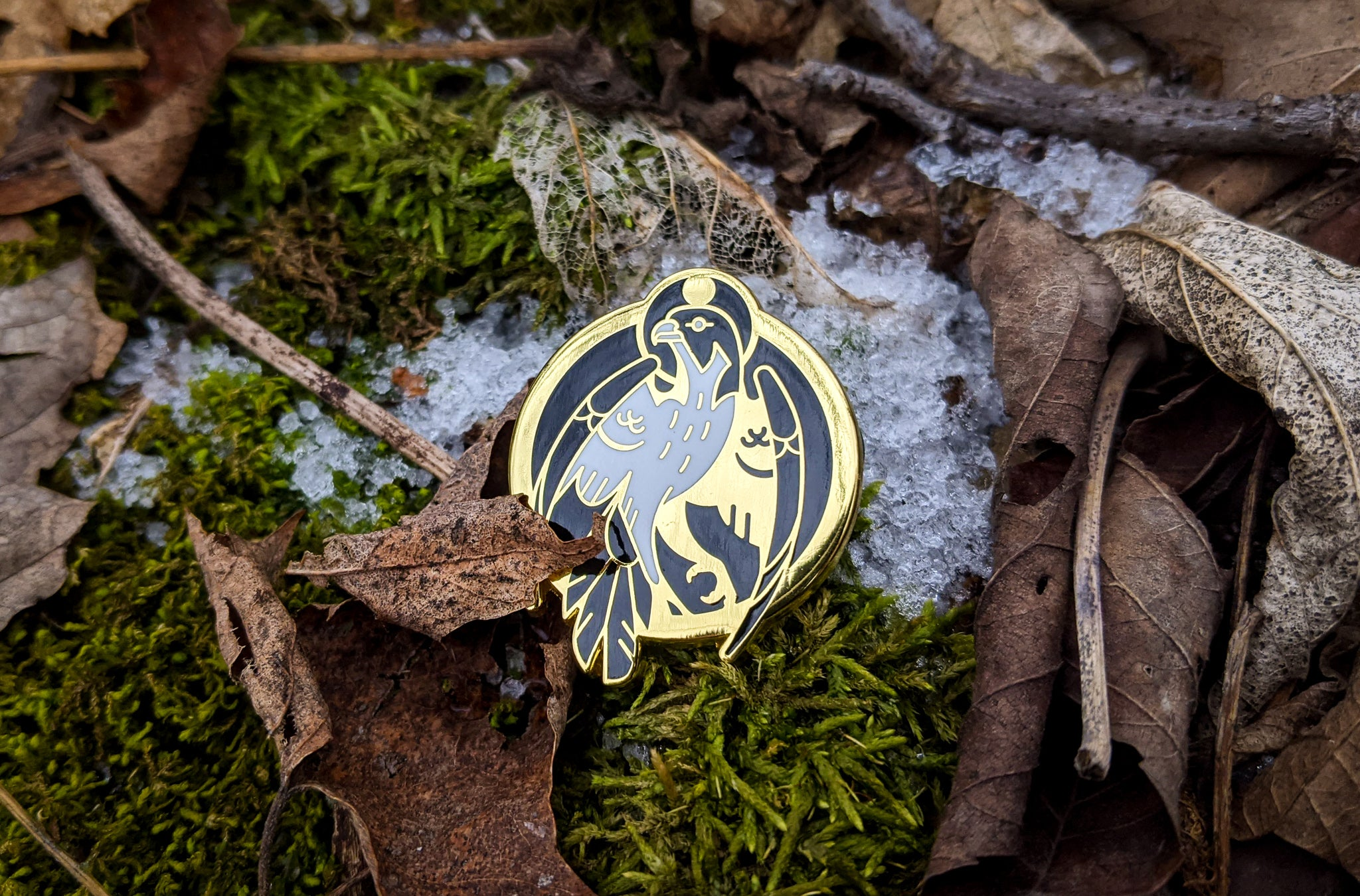 Golden Enamel Falcon Pin