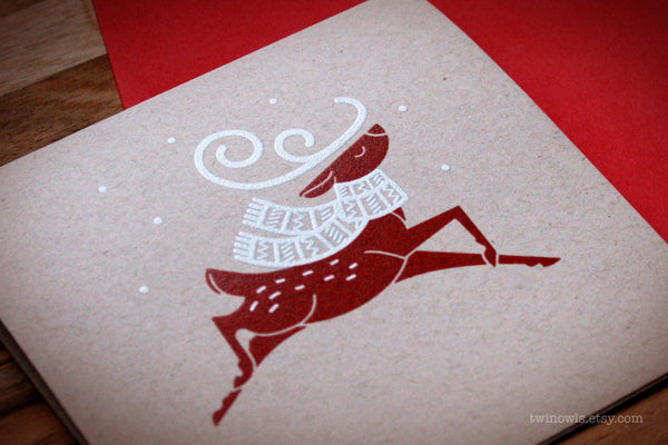 Hand Made Screen Printed Reindeer Holiday Card