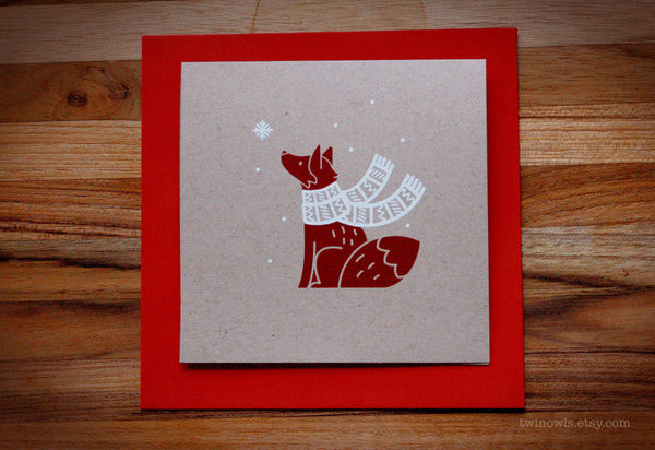 Hand Made Screen Printed Fox Holiday Card